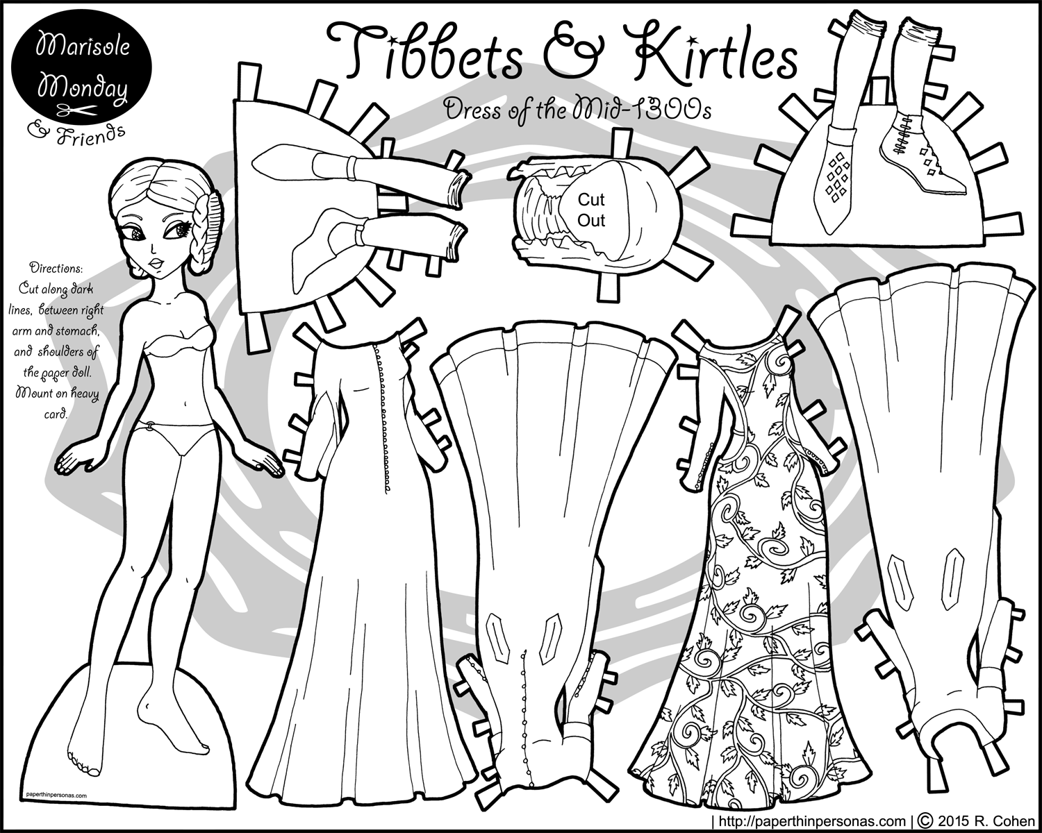 Tibbets and Kirtles: A Paper Doll of the Mid-1300s • Paper