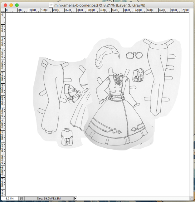 The Amelia Bloomer inspired steampunk paper doll set I spent last night working on.