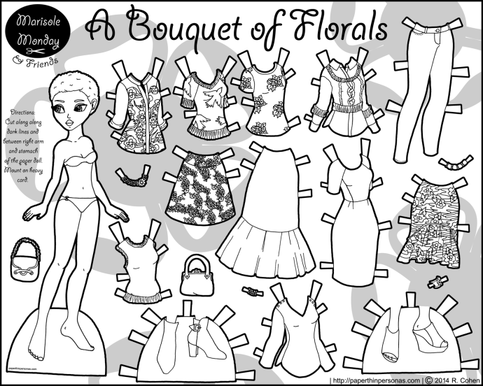 Bouquet Of Fls Paper Doll Coloring Page