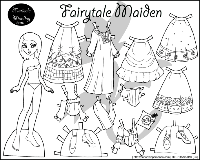 A Fairy Tale Maiden Black And White Princess Coloring Page To Print Dress Up