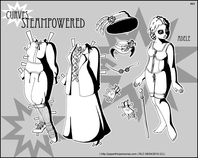 steampunk curvy paper doll
