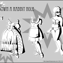 A black and white Alice in Wonderland paper doll with two outfits.