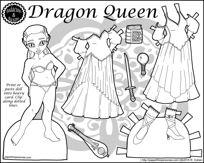 A black and white fantasy paper doll entitled