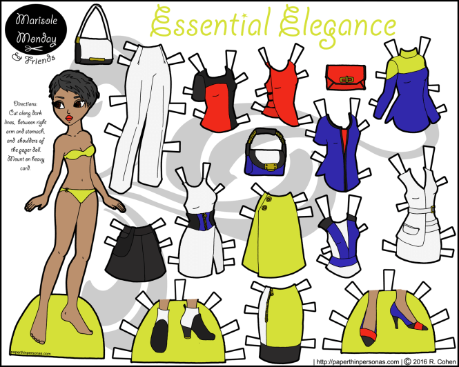 Essential Elegance is a beautiful black paper doll with short hair and a 16 piece wardrobe including accessories. Free to Print from paperthinpersonas.com