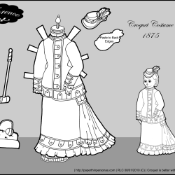 A croquet costume for Florence, a paper doll of a french fashion doll from the 1870s.