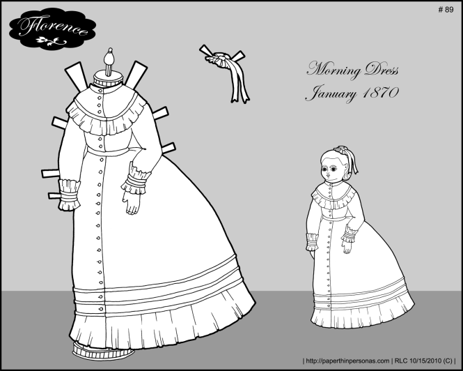 An 1870s morning dress for the printable paper doll Florence.