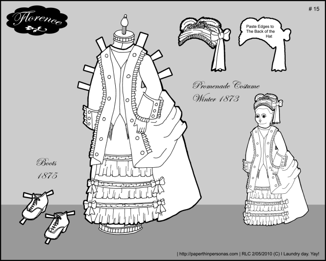 A promenade dress for Florence, a paper doll from the 1870s.