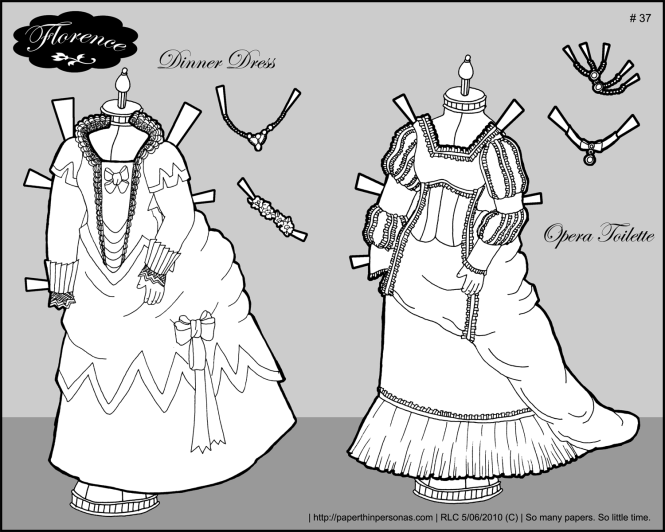 An opera costume and a dinner dress for Florence, a French Fashion doll.