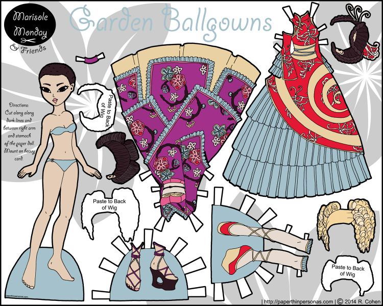 An Asian paper doll and her two fantasy ball gowns, three wigs and two pairs of shoes. Inspired by Wa Lolita and Qi Lolita fashions.