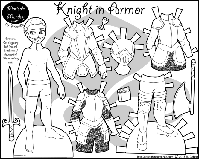 A knight paper doll for boys or girls with four pieces of armor, weapons and a helmet. He's free to print and color from paperthinpersonas.com