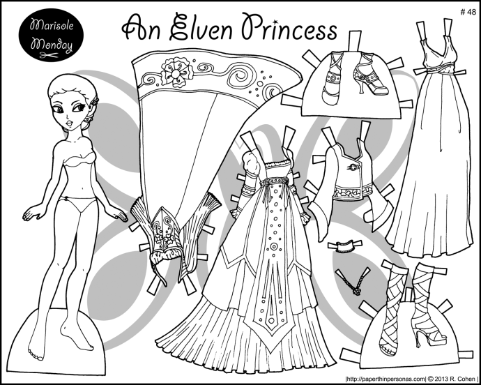 An Elf Princess Coloring Page To Print And Dress Up She S Got Two Gowns