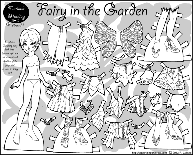 A paper doll coloring page featuring a fairy and her extensive wardrobe. From paperthinpersonas.com