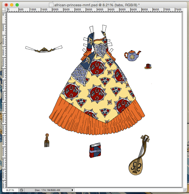 A screen capture of the work in progress of a princess ball gown, grown, lute and teapot. The dress is colored in an orange, yellow, and blue color scheme.
