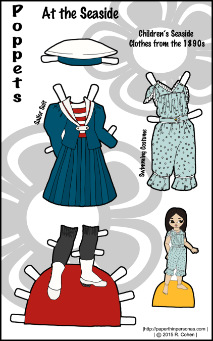 A set of 1890s paper doll clothes for the Poppet printable paper doll series. Free to print in color from Paperthinpersonas.com