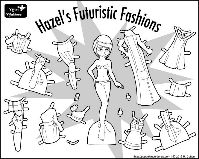 Hazel's Futuristic Fashions is a paper doll coloring sheet featuring a futuristic/sci-fi clothing. There's eleven pieces of clothing, including two pairs of boots. She's free to print from paperthinpersonas.com