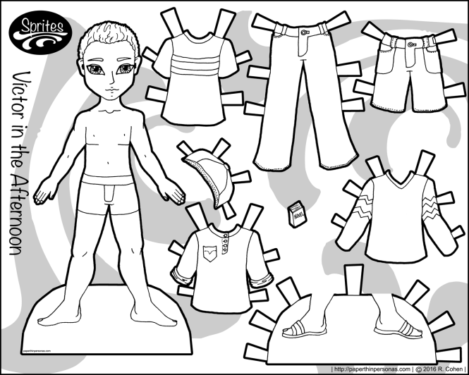 One of several paper dolls for boys on the blog, Victor is a young man with a casual wardrobe of seven pieces. He's free to print in black and white from Paperthinpersonas.com