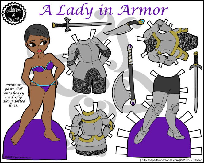 Because girl's slay dragons too, here's a female knight paper doll with four pieces of mix and match armor, plus plenty of accessories. From paperthinpersonas.com.