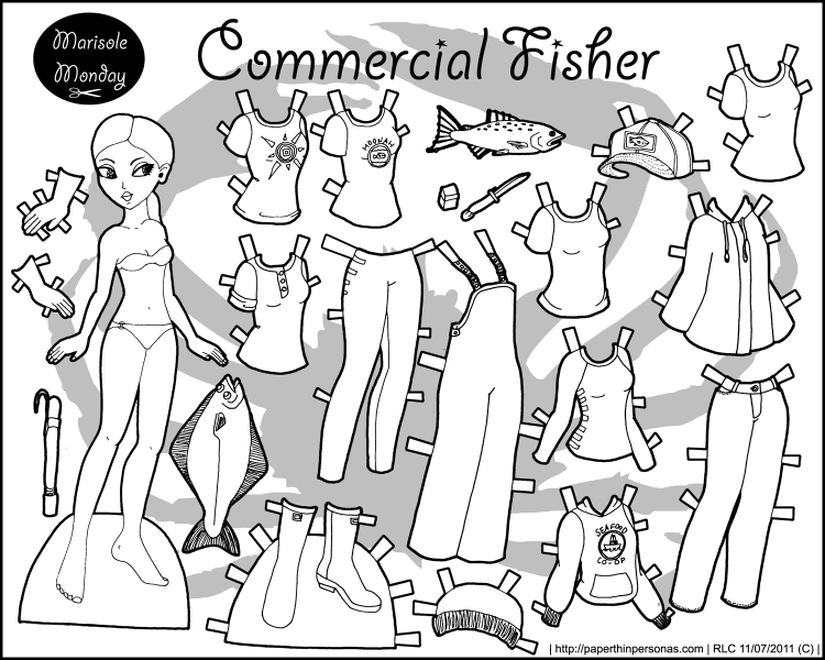 A paper doll of a commercial fisher with a 14 piece wardrobe. Free to print from paperthinpersonas.com.
