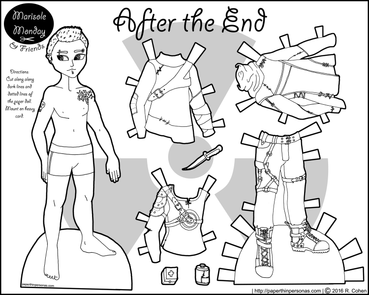 Mikhail, a guy paper doll, sporting some post-apocalyptic fashions. Free to print and color from paperthinpersonas.com.