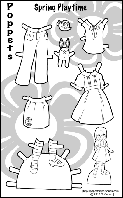 A colorful set of paper doll clothing for the Poppets! A dress, blouse, shoes, pants and a skirt, plus some fun toys in black and white. Free to print and color from paperthinprsonas.com.