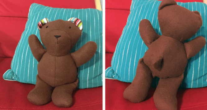 A back and front views of Simplicity 1681, a teddy bear pattern designed by Abby Glassenberg.