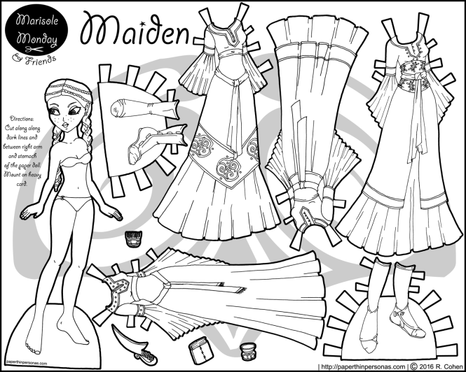 A black and white printable princess paper doll with four gowns, two pairs of shoes and some accessories. She can share clothing with a lot of my other paper dolls as well. Free from paperthinpersonas.com.