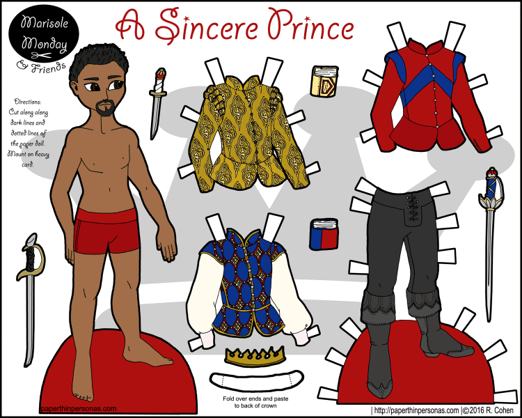 A black fairy tale prince paper doll with a four piece wardrobe. Part of the Marisole Monday & Friend's paper doll series, he can share clothing with any of the other Marisole Monday & Friend's male paper dolls. Free to print from paperthinpersonas.com.