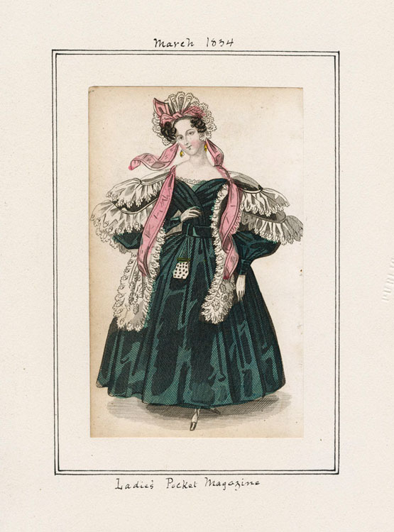 Women's fashion plate from 1834 of a dinner dress from Lady's Pocket Magazine.