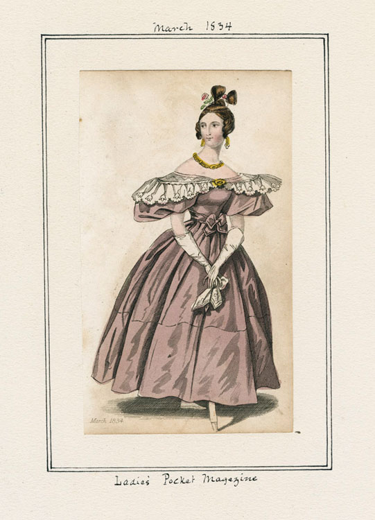 1834 fashion plate from March of an evening dress from Lady's Pocket Magazine.