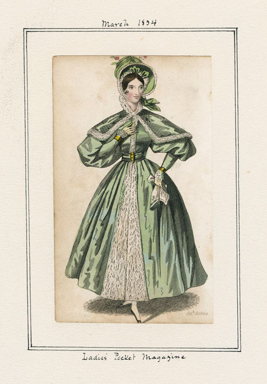 Women's fashion plate from 1834 of a walking dress from Lady's Pocket Magazine.