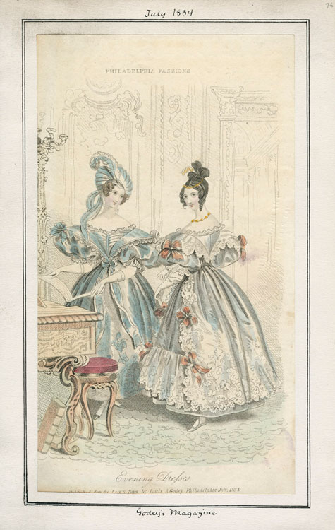 Two evening gowns from 1834. Originally published in Godey's Lady's Book.