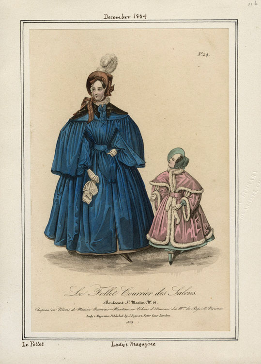 Lady's walking cape from 1834 with a child's costume as well.