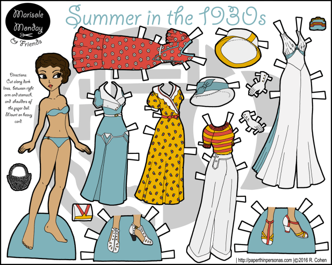 A printable paper doll celebrating the 1930s with a five piece wardrobe, hats and accessories. Free to print from paperthinpersonas.com.