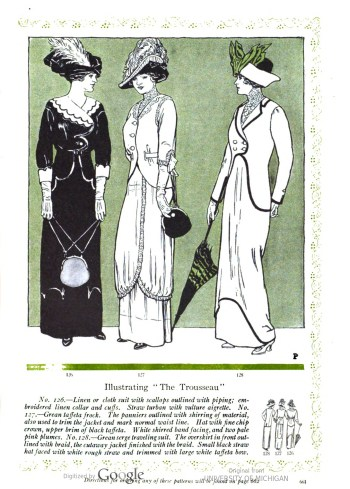 Her Wardrobe Article by Carolyn Trowbridge Radnor-Lewis about a bridal trousseau in 1912. Three different suits are illustrated and described.