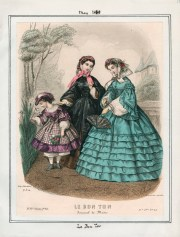 Fashion plate from Le Bon Ton dated May 1869. Originally found on the Casey Fashion Plate index.