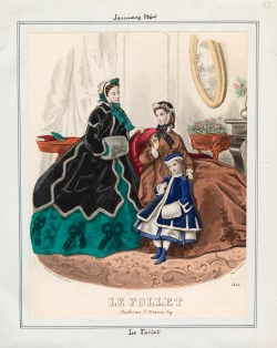 A fashion plate from Le Follet dated January 1864. Originally from the Casey Fashion Plate index.