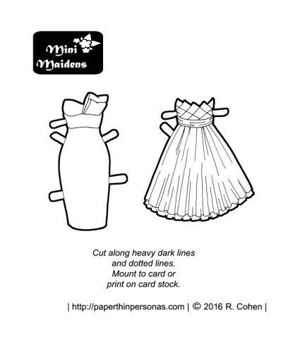 Two short prom dresses for the Mini-Maidens paper dolls. Print and color from paperthinpersonas.com