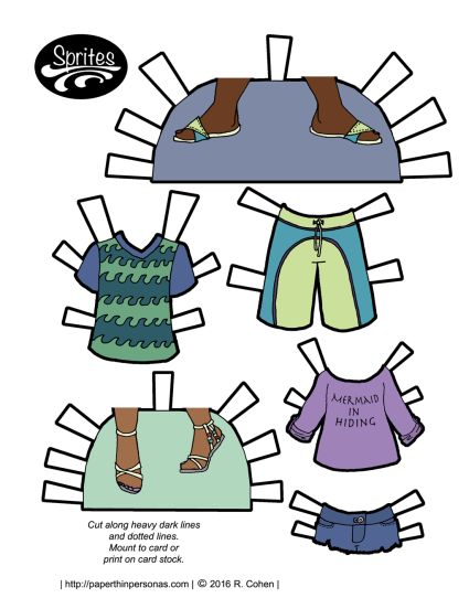 A set of paper doll clothing for the beach! Designed for the Sprites paper doll series and also available in black and white for coloring.
