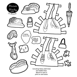 Printable paper doll accessories including shoes and hats! Also available in black and white. From paperthinpersonas.com