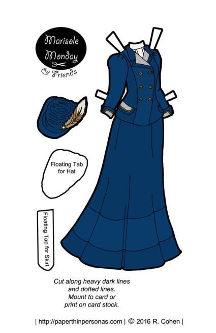 An Edwardian paper doll's walking suit in navy blue. Free to print from paperthinpersonas.com.