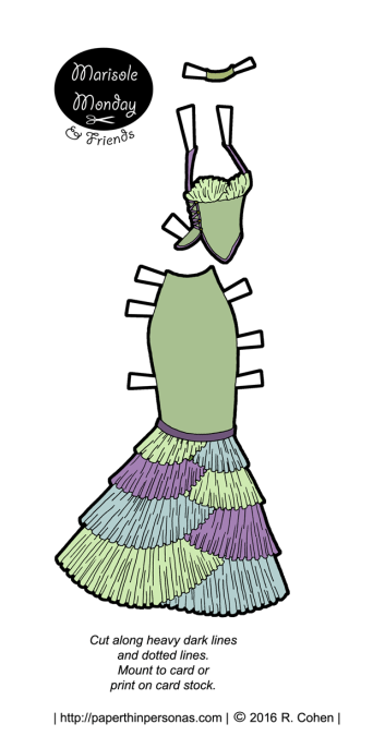 A fantasy ballgown with a neo-victorian flare for a printable paper doll from paperthinpersonas.com.