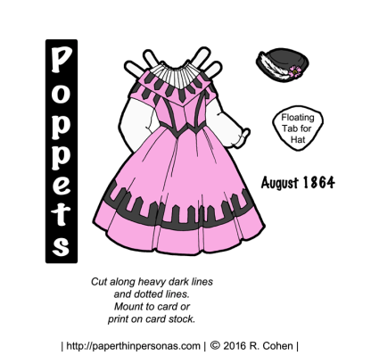 Poppets paper dolls dress with pink and black color scheme from August of 1864. From paperthinpersonas.com.