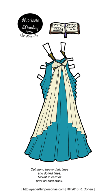 A paper doll fantasy dress design in teal and cream. It fits the Marisole Monday & Friend's paper dolls.