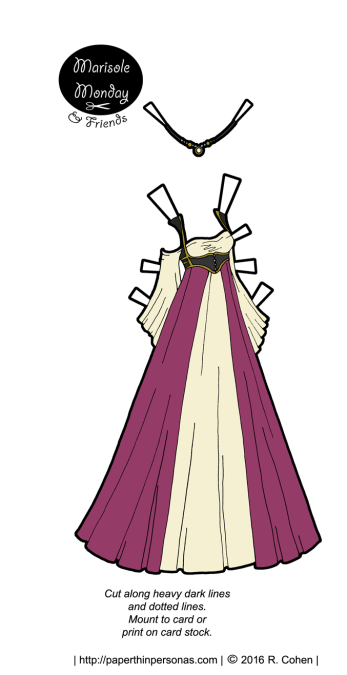 An elgant paper doll fantasy gown with a matching circlet. Deisgned to fit the Marisole Monday & Friends paper doll series. Free to print from paperthinpersonas.com.