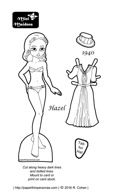 Hazel- a paper doll and her 1940s afternoon dress. She's the first in a series for 1940s paper dolls.