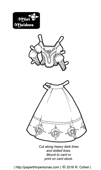 A folkloric fantasy paper doll fashion to print and color from paperthinpersonas.com