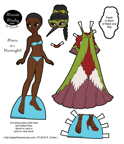 A beautiful hummingbird inspired masquerade dress and black paper doll to wear it from paperthinpersonas.com. Also available as a coloring page.