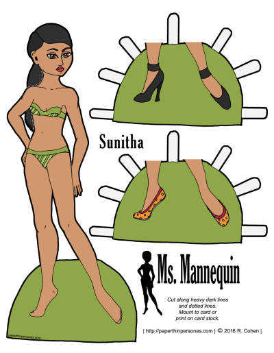 A free printable paper doll of a young woman named Sunitha in color or black and white.