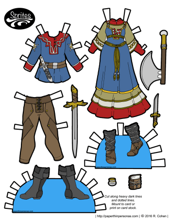 A pair of viking inspired fantasy outfits for the Sprites paper doll series, both for a male paper doll and a female paper doll. Also available in black and white for coloring