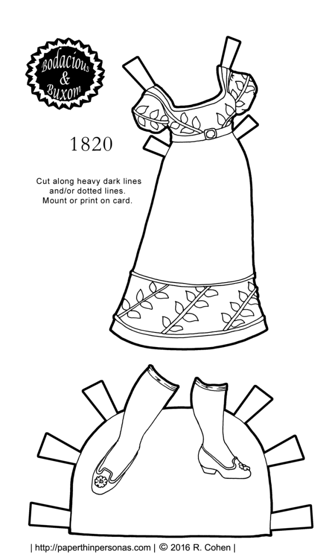 A dress from 1820 for the B&B curvy paper doll series based on a gown from the Philadelphia Museum of Art to color and print.